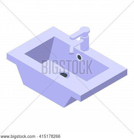 Wash Basin Icon. Isometric Of Wash Basin Vector Icon For Web Design Isolated On White Background