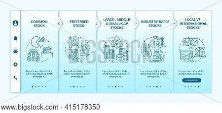 Investment Stocks Types Onboarding Vector Template. Responsive Mobile Website With Icons. Web Page W