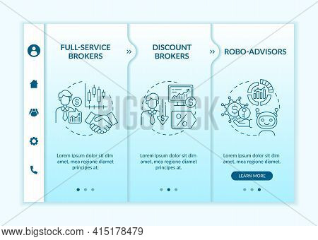 Professional Trader Types Onboarding Vector Template. Responsive Mobile Website With Icons. Web Page