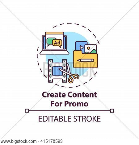 Creating Content For Promo Concept Icon. Online Event Marketing Tip Idea Thin Line Illustration. Pro