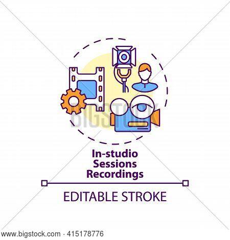 In-studio Sessions Recordings Concept Icon. Ve Content Idea Thin Line Illustration. Human Interactio