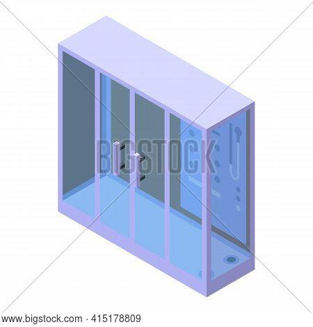 Bathroom Shower Stall Icon. Isometric Of Bathroom Shower Stall Vector Icon For Web Design Isolated O