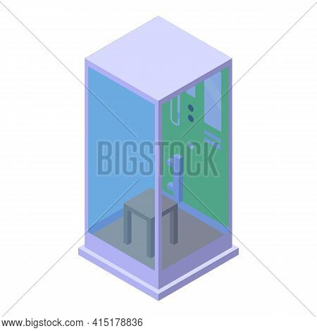 Chair Shower Stall Icon. Isometric Of Chair Shower Stall Vector Icon For Web Design Isolated On Whit