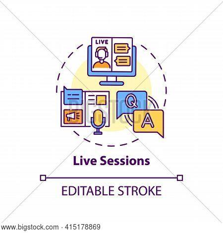 Live Sessions Concept Icon. Virtual Event Content Idea Thin Line Illustration. Online Conferences An