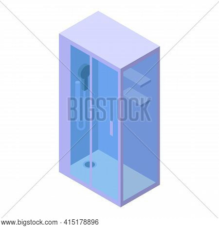 Glass Shower Stall Icon. Isometric Of Glass Shower Stall Vector Icon For Web Design Isolated On Whit