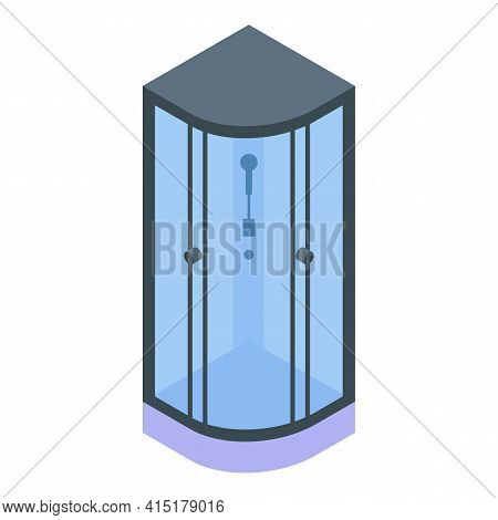 Corner Shower Stall Icon. Isometric Of Corner Shower Stall Vector Icon For Web Design Isolated On Wh