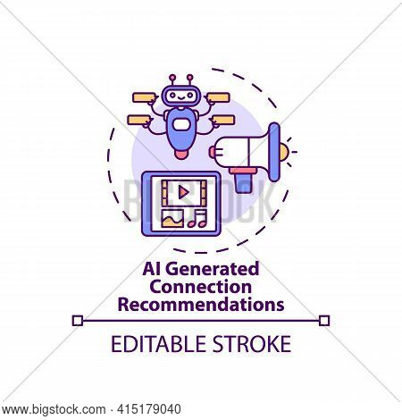 Ai Generated Connection Recommendations Concept Icon. Ve For Networking Idea Thin Line Illustration.