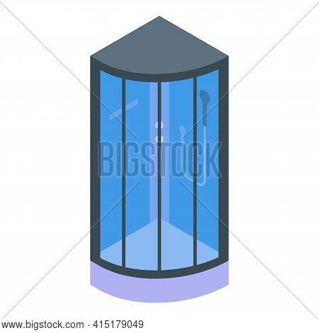 Interior Shower Stall Icon. Isometric Of Interior Shower Stall Vector Icon For Web Design Isolated O