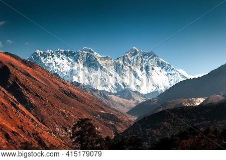 View Of Everest Mount, Lhotse And Nuptse Peaks At Sunrise From Tengboche Village, Nepal. Everest Bas