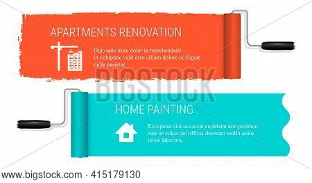 Paint Roller Banners. Home Painting. Apartment Renovation And Home Painting Banner Template. Vector