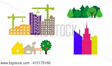 Construction Of Apartment Buildings, Park, Village, Skyscrapers. Colorful Vector Icons. Apartments R