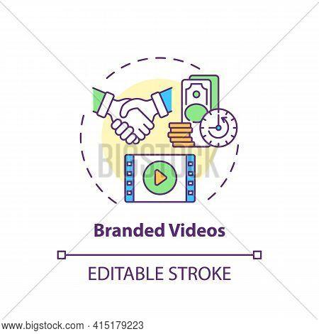 Branded Videos Concept Icon. Sponsorship Virtual Events Idea Thin Line Illustration. Marketing Conte