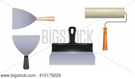 Various Spatulas And Paint Roller. Realistic 3d Vector Tools. Apartment Renovation. Vector Illustrat