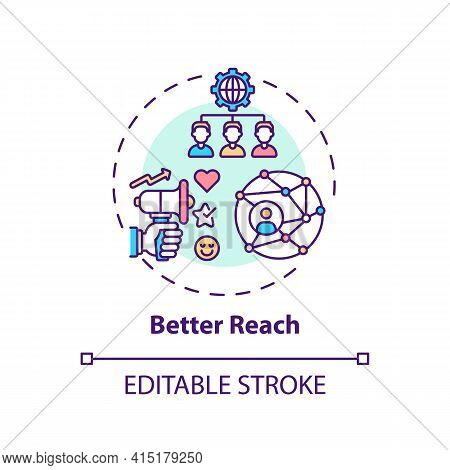 Better Reach Concept Icon. Hybrid Event Benefit Idea Thin Line Illustration. Reaching Global Audienc
