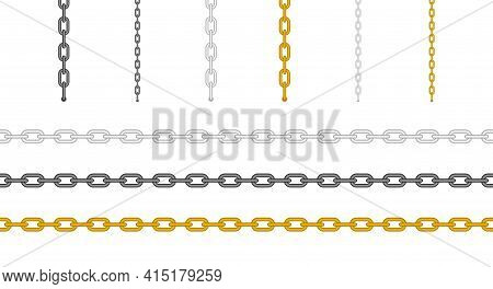 Metal Chain Set. Horizontal And Hanging Ones. Gold, Silver And Black Chain. Vector Illustration Isol