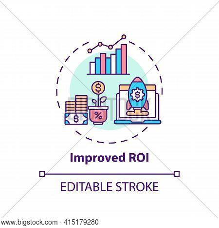 Improved Roi Concept Icon. Hybrid Event Idea Thin Line Illustration. Sponsorship Deals. Saving In Ve