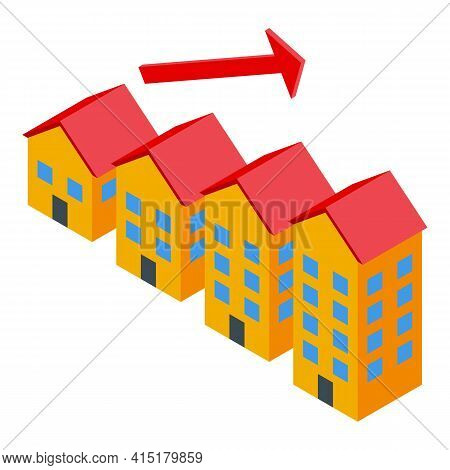 Grow Building Investments Icon. Isometric Of Grow Building Investments Vector Icon For Web Design Is