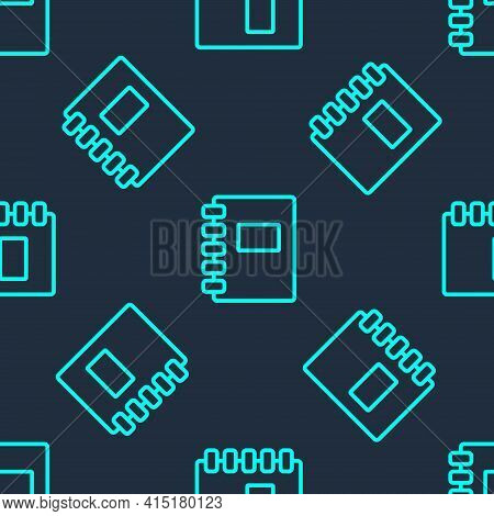 Green Line Notebook Icon Isolated Seamless Pattern On Blue Background. Spiral Notepad Icon. School N