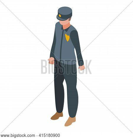 Justice Policeman Icon. Isometric Of Justice Policeman Vector Icon For Web Design Isolated On White