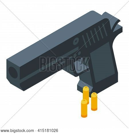 Crime Gun Icon. Isometric Of Crime Gun Vector Icon For Web Design Isolated On White Background