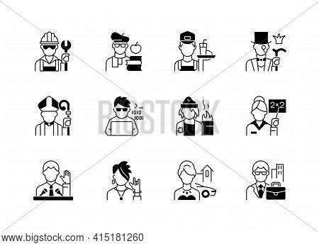 Social Status Black Linear Icons Set. Lower And Upper Class. Political Elite. Intelligentsia, Aristo