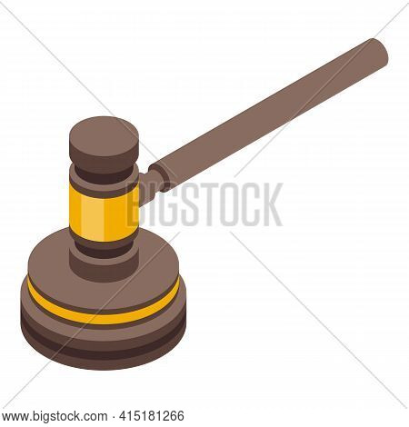 Justice Hammer Icon. Isometric Of Justice Hammer Vector Icon For Web Design Isolated On White Backgr