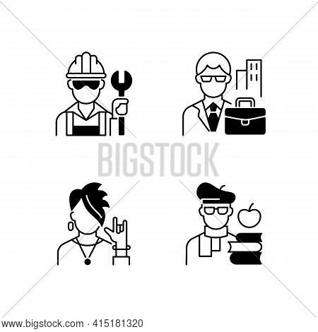 Social Classification Black Linear Icons Set. Blue And White Collar Workers. Subculture Group. Intel