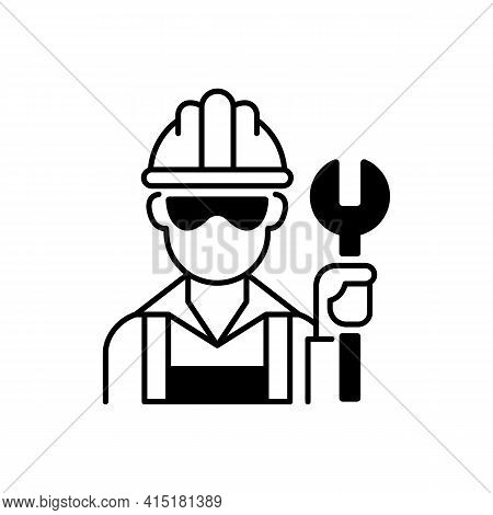 Blue Collar Worker Black Linear Icon. Repairman With Wrench. Mechanic With Tool For Construction Wor