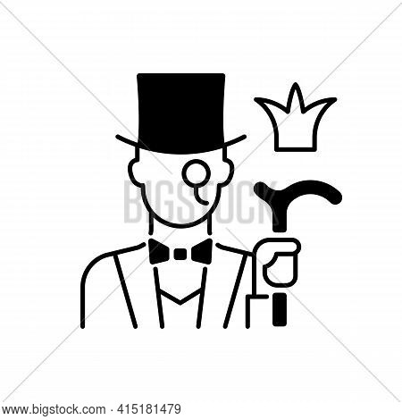Aristocratic Elite Black Linear Icon. Posh Gentleman With Monocle. Rich Person, Wealthy Victorian Ma