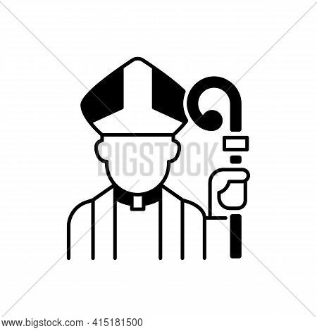 Clergy Black Linear Icon. Male Catholic Priest. Vatican Pope. Religious Figure. Christian Church Pas