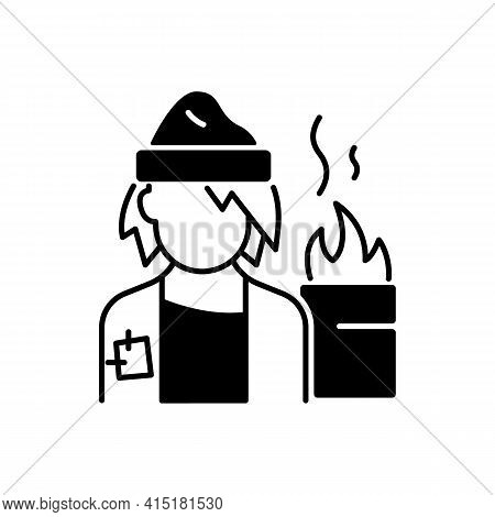 Lower Class Black Linear Icon. Homeless Man. Poverty, Beggar Living On Street. Person With No Home.