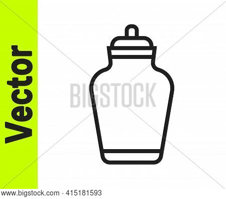 Black Line Funeral Urn Icon Isolated On White Background. Cremation And Burial Containers, Columbari