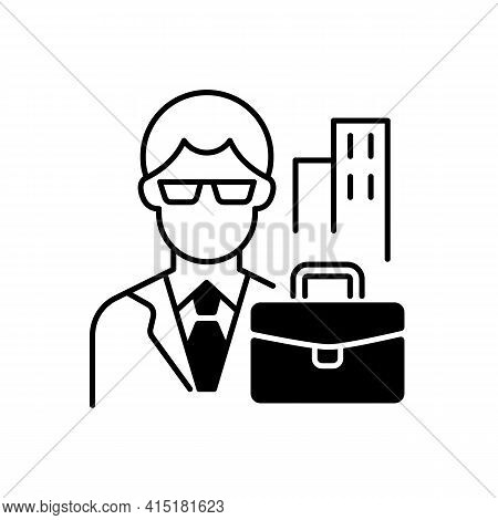 White Collar Worker Black Linear Icon. Professional Businessman, Executive Management Employee. Offi