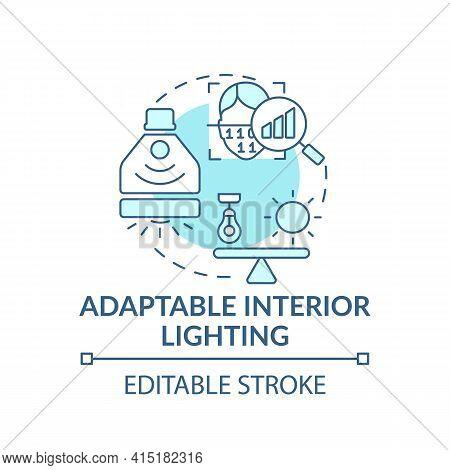 Adaptable Interior Lighting Concept Icon. Smart Office Idea Thin Line Illustration. Dynamic Office E