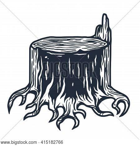 Lumberjack Wood Timber Stump With Roots Logo