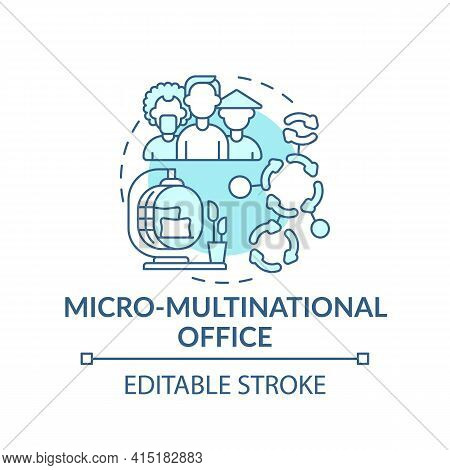 Micro-multinational Office Concept Icon. Workspace Trend Idea Thin Line Illustration. Foreign Migran