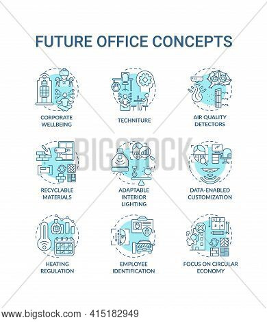 Future Office Concept Icons Set. Corporate Wellbeing Idea Thin Line Rgb Color Illustrations. Adaptab