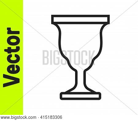 Black Line Christian Chalice Icon Isolated On White Background. Christianity Icon. Happy Easter. Vec