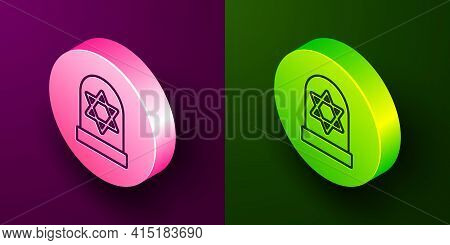 Isometric Line Tombstone With Star Of David Icon Isolated On Purple And Green Background. Jewish Gra