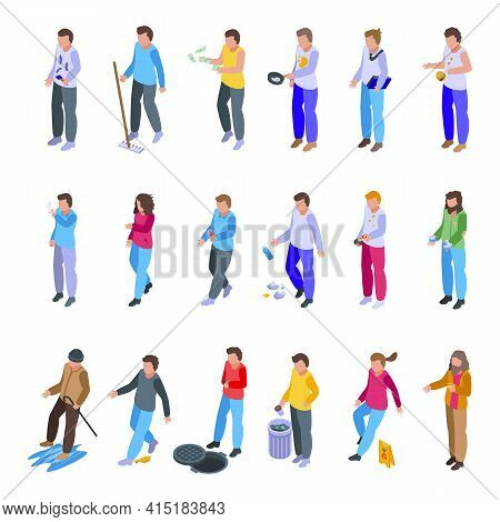 Careless Person Icons Set. Isometric Set Of Careless Person Vector Icons For Web Design Isolated On