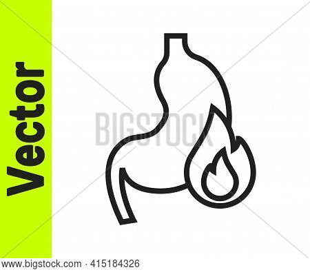 Black Line Stomach Heartburn Icon Isolated On White Background. Stomach Burn. Gastritis And Acid Ref