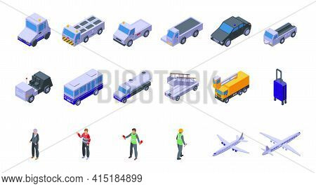 Airport Ground Support Service Icons Set. Isometric Set Of Airport Ground Support Service Vector Ico