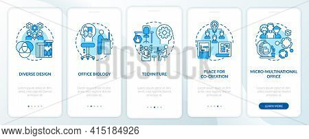 Workspace Tendency Onboarding Mobile App Page Screen With Concepts. Diverse Styles, Co-creation Walk