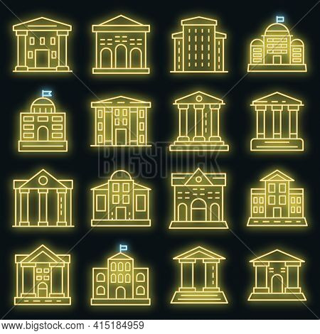 Courthouse Icons Set. Outline Set Of Courthouse Vector Icons Neon Color On Black