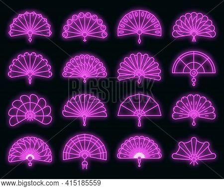 Handheld Fan Icons Set. Outline Set Of Handheld Fan Vector Icons Neon Color On Black