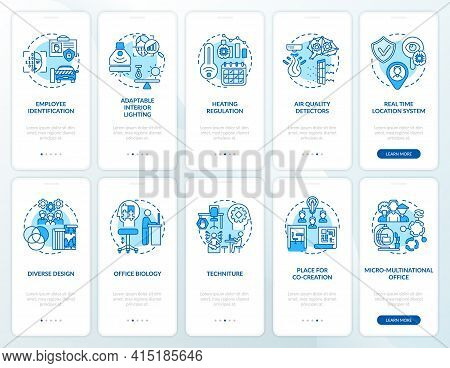 Smart Office Planning Onboarding Mobile App Page Screen With Concepts Set. Workspace Tendency Walkth