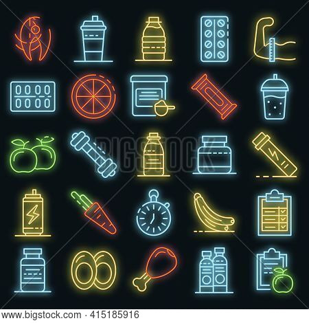 Sport Nutrition Icons Set. Outline Set Of Sport Nutrition Vector Icons Neon Color On Black