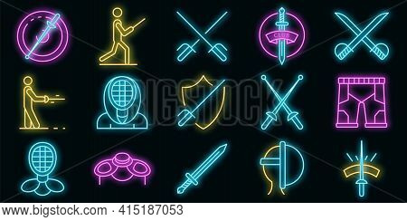 Fencing Icons Set. Outline Set Of Fencing Vector Icons Neon Color On Black