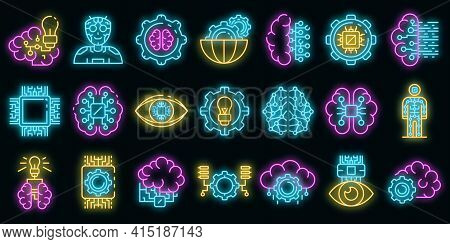 Artificial Intelligence Icons Set. Outline Set Of Artificial Intelligence Vector Icons Neon Color On