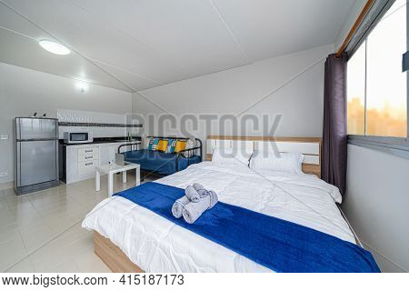 Luxury Interior Living Room, Sofa Bed, Queen Size Bed, Work Space Working With Technology Laptop, St